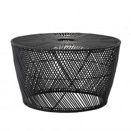 bloomingville table basse ronde design contemporain rotin tresse noir
