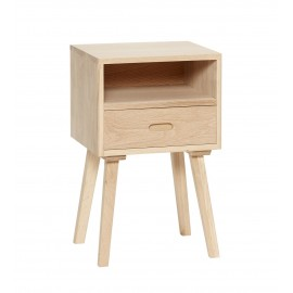 hubsch table de chevet tiroir bois clair style scandinave