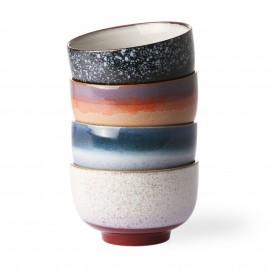 hk living set de 4 bols multicolores style vintage retro gres
