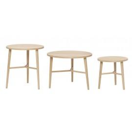 hubsch set de 3 tables basses rondes style scandinave bois clair