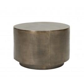 house doctor table basse ronde alu laiton patine vieilli rota