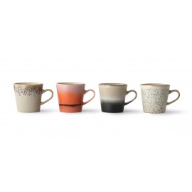 hk living set de 4 tasses mug style vintage 70 s multicolores