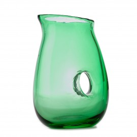 pols potten carafe verre jug with hole vert fonce