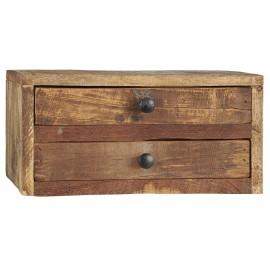 ib laursen petit rangement de bureau 2 tiroirs bois recycle vintage