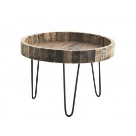 madam stoltz table basse ronde bois recyclé rustique brut