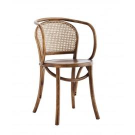 madam stoltz chaise vintage bois avec accoudoirs arrondis orme rotin