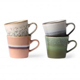 hk living mug a cafe cappuccino set de 4 multicolores vintage
