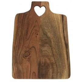 ib laursen planche a decouper bois fonce acacia poignee forme de coeur