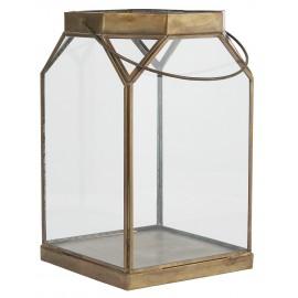 ib laursen grande lanterne ouverte verre metal dore laiton vintage