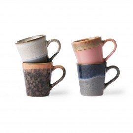hk living set de 4 tasses espresso cafe ceramique multicolore