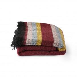 hk living plaid couverture moelleuse rouge bordeaux rayures doris