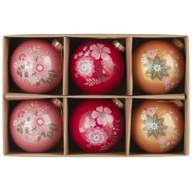 set de 6 boules de sapin multicolores motif fleuri ib laursen