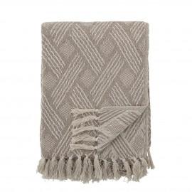bloomingville plaid coton recycle beige franges ton naturel motif chic
