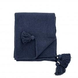 bloomingville plaid bleu marine fonce uni pompons coton recycle genet