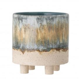 bloomingville cache pot sur pieds gres emaille artisanal bleu beige imoa