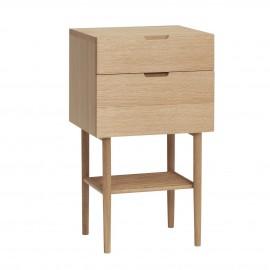 table de chevet moderne 2 tiroirs bois chene clair hubsch