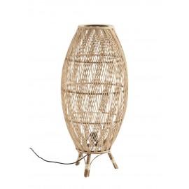 madam stoltz lampe de sol bois bambou rotin style lanterne