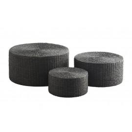 madam stoltz set 3 poufs ronds en fibre de papier noir