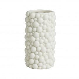 nordal petit vase droit ceramique texture bulles blanc