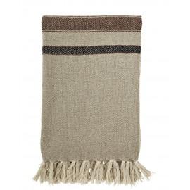 madam stoltz plaid couverture coton rayures beige marron