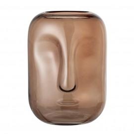 vase en verre forme de visage ambre marron bloomingville amida