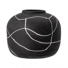 bloomingville vase boule terre cuite noir blanc peint niza