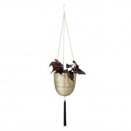 bloomingville pot de fleur suspendu metal dore grave pampille