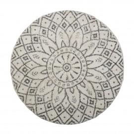 bloomingville petit tapis rond coton tufte noir blanc imprime acton