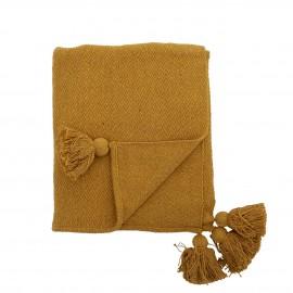 bloomingville plaid textile recycle jaune pompons genet