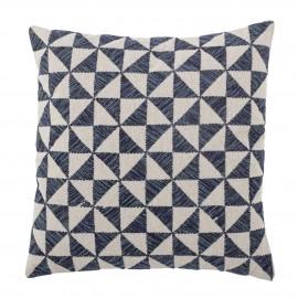 bloomingville coussin carre coton motif geometrique damier bleu blanc