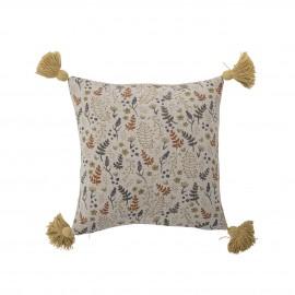 bloomingville petit coussin coton imprime fleuri vegetal pompons jaune