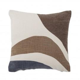 bloomingville coussin carre coton imprime motif degrade marron brun