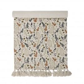 bloomingville tapis chambre enfants coton fleuri multicolore pompons