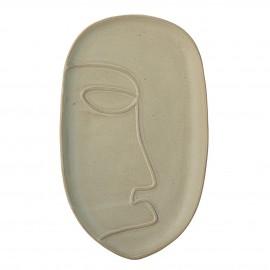 bloomingville assiette plateau ovale decoratif gres vert motif visage