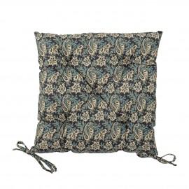 bloomingville coussin de chaise galette carre motif floral bleu