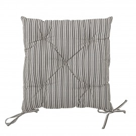 bloomingville galette de chaise carre coton imprime rayures raye beige