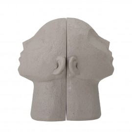 bloomingville sculpture tete serre livres polyresine gris baldur