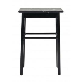 house doctor table basse d appoint carree bois marbre noir regance