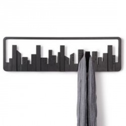 Umbra Perchero decorativo de pared 5 perchas abatibles Skyline negro
