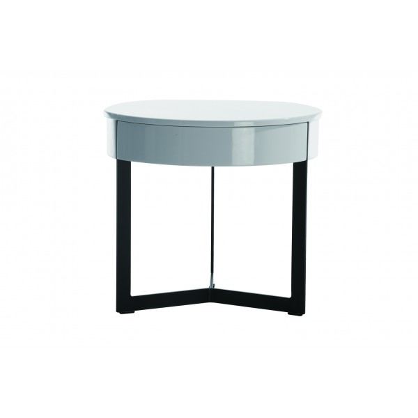 Table de chevet design blanc noir kaliance - Table de chevet noir ...