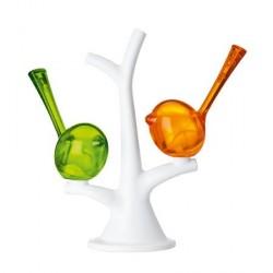 Saliere et poivrière blanc orange vert
