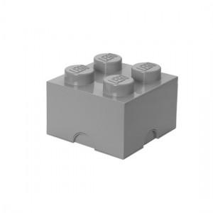 Lego boîte rangement 4 plots M gris stone