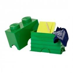 Boîte lego rangement 2 plots vert foncé