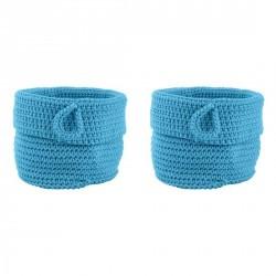 Mini panier tressé turquoise confetti zone denmark (set de 2)