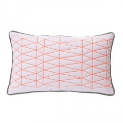 Coussin design blanc rose fluo present time graph 50 x 30