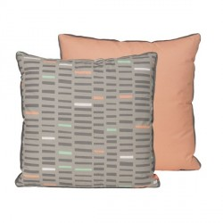 Coussin pastel bicolore gris rose saumon present time boogie woogie