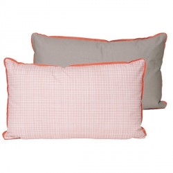 Coussin bicolore rose gris present time grid 50 x 30