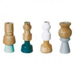 Bougeoirs déco en bois woody cool colours present time (set de 4)