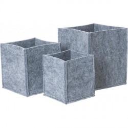 Boîtes de rangement en feutrine grise mellow present time (set de 3)