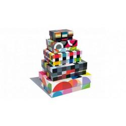 Boîtes en carton décoratives rangement remember solena (set de 5)